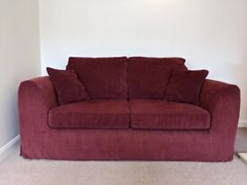 Pink Two Seater Sofabed and Armchair