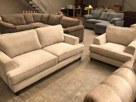 Brand new grey 3 seater sofa and armchair