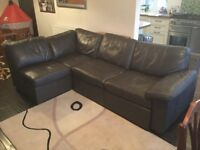 Brown leather L shape sofa / sofa bed with storage under