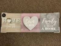 NEW 3 Pack-Silver Metallic Hearts Canvas