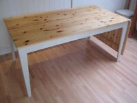Lovely Large Extending Solid Pine Kitchen / Dining Table - Frame & legs painted in F&B eggshell