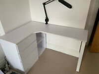 Peninsular Home Office Corner Desk with Drawers - White