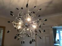 Chrome and glass bead light fitting (6 small lamps included)