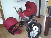 Chicco Artic Travel System Car Seat & Carry Cot Bundle - Garnet used