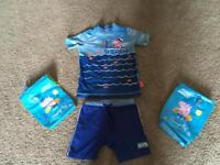 George Pig Two Piece Swimsuit and Arm Bands