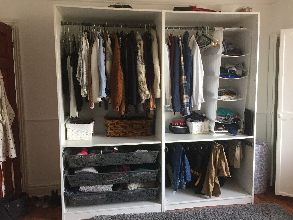White solid open IKEA PAX wardrobe (X2)