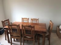 Wooden dining room table and chair set. 6 seater. Collection only.