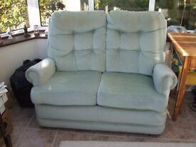 Comfortable 2 Seater Sofa in Pale Green Velvet