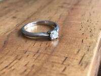 Platinum Hallmarked Diamond Solitaire Ring