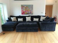 Gorgeous, large, bespoke dark grey/blue corner sofa by Sofa Workshop