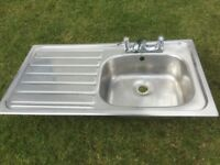 INSET SINK UNIT WITH MIXER TAPS