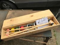 CROQUET SET FOR ADULTS UNSED IN STORAGE BOX