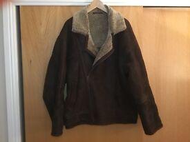 Size 44 XL genuine sheepskin flying jacket.