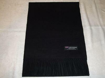 100% Cashmere Scarf Solid Black Made in Scotland Wool Men Women Wrap Infinity