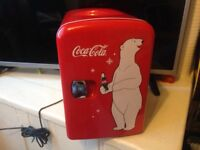 Coca Cola bear 4 litre mini fridge cooler/warmer,with 12v mains charger,dimensions 27,5cm height