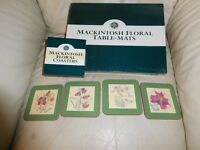 Past Times 4 Table mat and matching coaster. Mackintosh floral style.