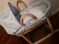 Blue Moses Basket With Stand