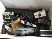 HUGE job lot of vintage cameras, over 60 plus cases, flashes, lens etc