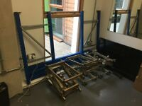 Two teir pub cellar racking system with 6 auto tilt stillages