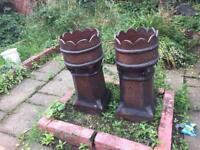 Victorian glazed chimney pots