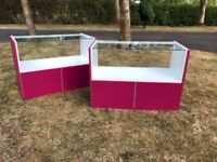Glass & Fuschia display Counters x 2
