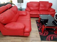 3+2 RED LEATHER SOFA SET