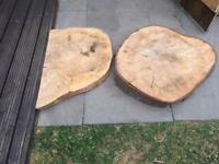 Solid slice, 2 pieces of beech wood (garden table coffee table) just reduced from £50