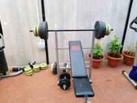Free weights, bench and dumbbells