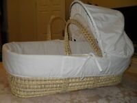 Moses basket complete with mattress & fitted sheet.Like new,only used for fist two weeks.