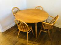 Ercol drop leaf dining table with 4 chairs - mid century vintage