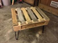 Mini pallet coffee side table black steel legs upcycled reclaimed vintage industrial