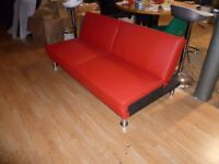 Red Supra 3 Seater Brand New Faux Leather Sofa Bed (Free Local Delivery)