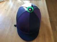 Ladies / girls riding hard hat Champion Pro plus.. Black with purple and navy blue over silk