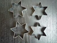 4 Bags of 12 Stainless Steel Star Cookie/Biscuit Cutters baking 48 in total - NEW