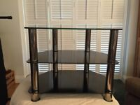 Black glass 3 shelf TV stand