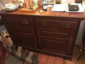 Antique walnut veneer cupboard