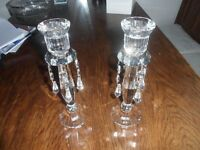 Pair crystal glass candlesticks with droplets.