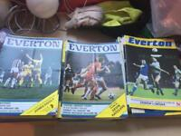 50+ Everton 1980's and 1990's home and away programmes