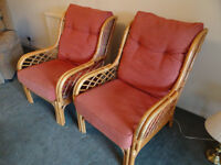 Pair of stylish cane conservatory chairs £60