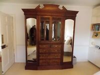 VICTORIAN IRISH ANTIQUE CARVED WALNUT & BURR WALNUT COMBINATION WARDROBE STAMPED ARNOTTS DUBLIN VGC