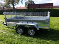 Car trailer 8.7 x 4.1 twin axle-build,side and mesh 1100 inc vat certificate