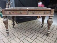 VICTORIAN TABLE BARN FIND NEEDS TOTAL RESTORATION PROJECT HAS ORIGINAL CASTERS & DRAWERS £50