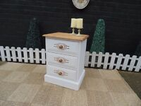 SINGLE SOLID PINE FARMHOUSE BEDSIDE CABINET PAINTED WITH LAURA ASHLEY PALE DOVE GREY