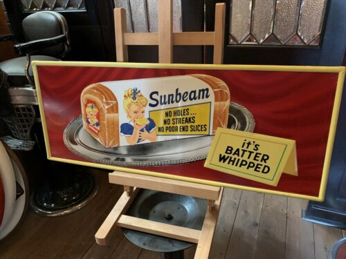 "1959 Sunbeam Bread  30"" Tin Advertising Sign ""Watch Video"""