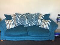 Dfs teal damask 3 seater, cuddled arm chair and pouffe