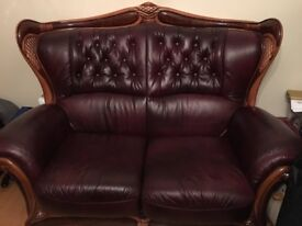 3-2-1 leather suite - immaculate condition, statement piece