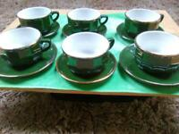 6 Green Apilco Porcelain French Cups and saicers