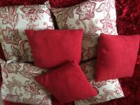 8 Beautiful, rich textured, very well made red cushions 4 floral and 4 plain - ex M+S -4 of each
