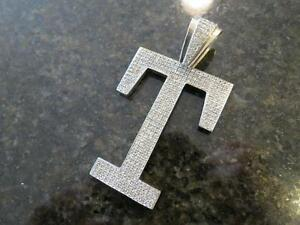 "14k solid white gold large letter ""T"" diamond pendant 76.4grams"