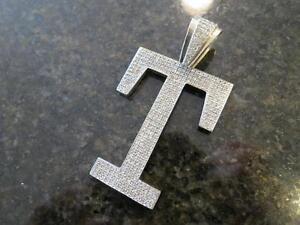 """14k solid white gold large letter """"T"""" diamond pendant 76.4grams"""